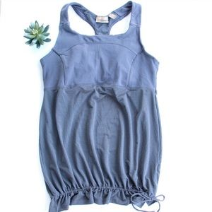 Athleta Racerback Drawstring Gray Tank Top L